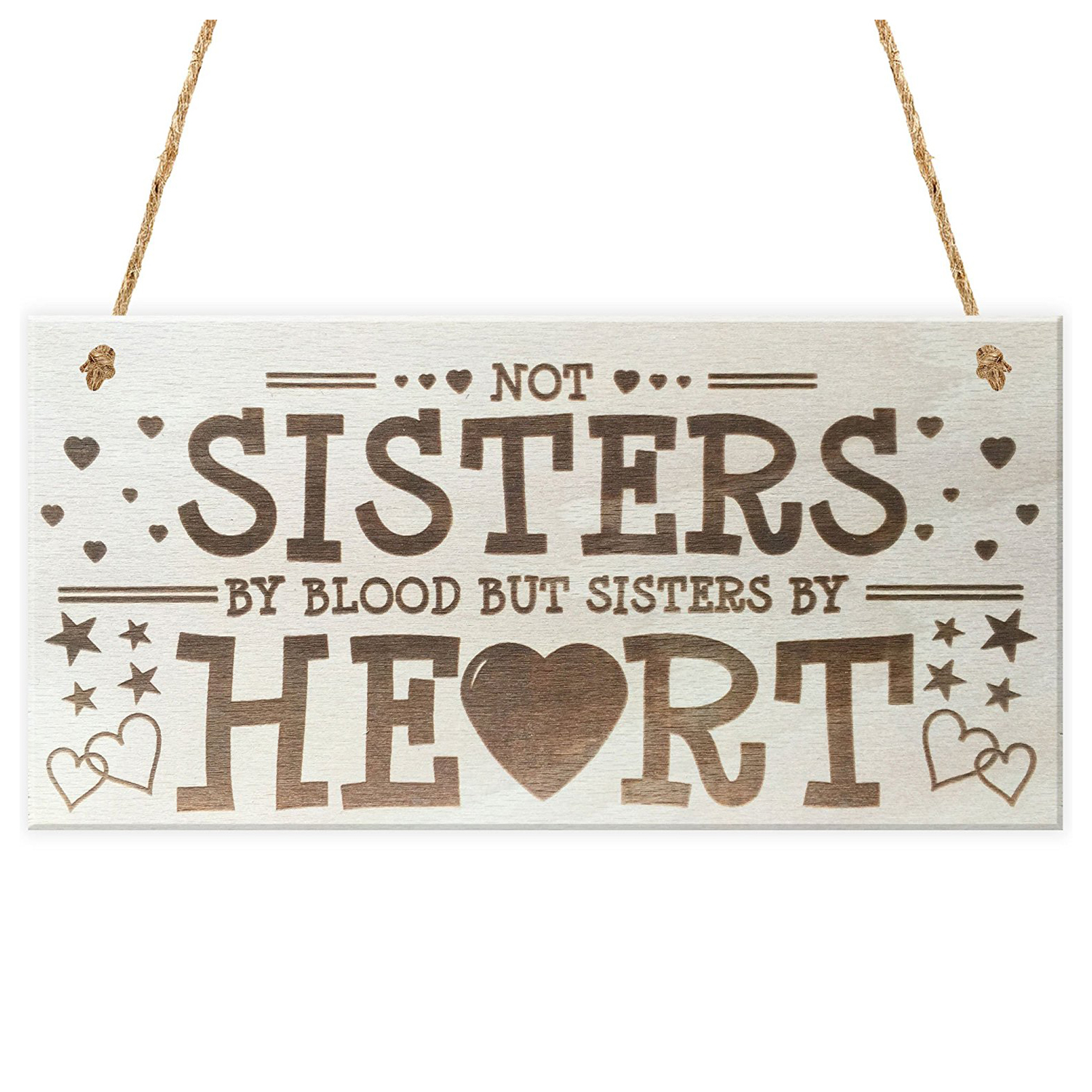 Not Sisters By Heart Shabby Chic Wooden Hanging Plaque Best Friends