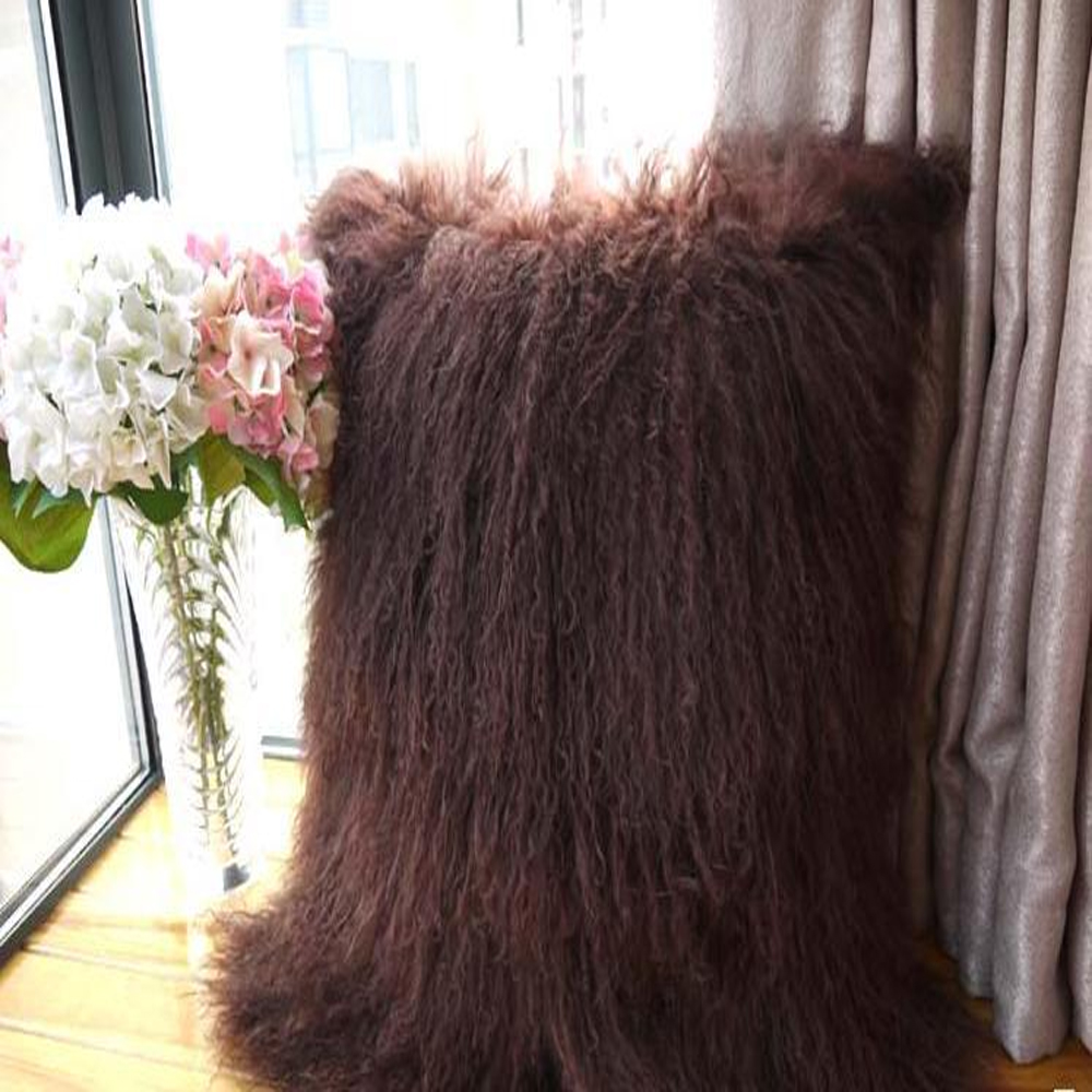 2016 Genuine Brown Mongolian Fur Pillow Cover Brown Tibet Fur cushion Cover 30x50 cm Throw ...
