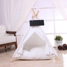 Pet tent with cotton cushions kennel beautiful solid wood poles pet comfortable and detachable easy to clean
