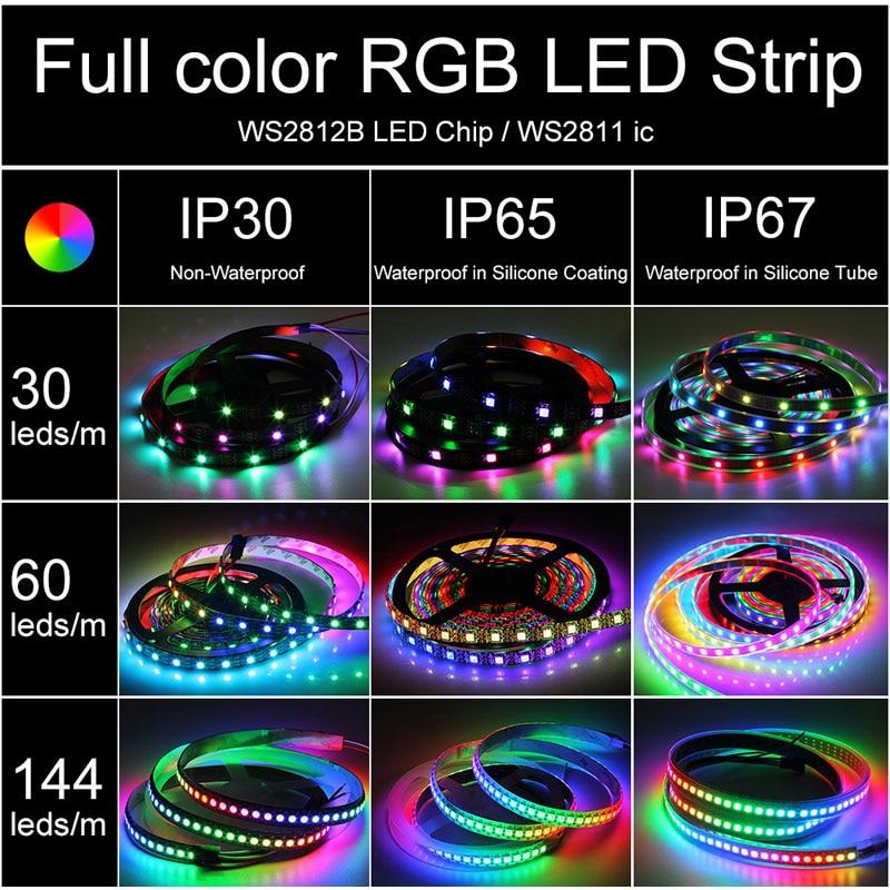 DC5V WS2812B LED Strip Lights 5050 RGB 30//60//144 LED//M IC Individual Addressable