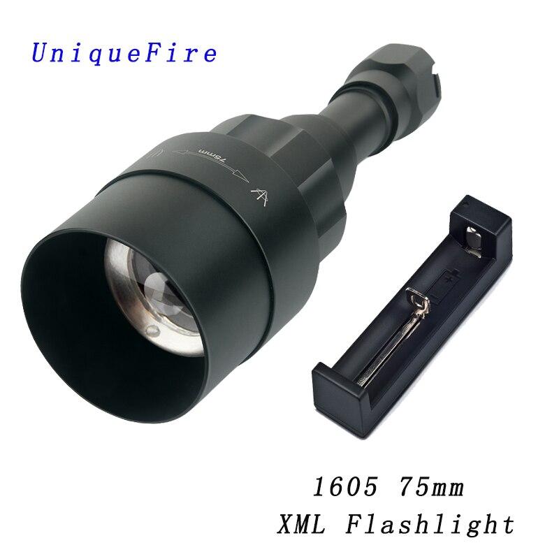 UniqueFire 1605 75mm XML 5 lampe de poche LED à modes lumière blanche 240 Lumens torche Zoomable lanterne Rechargeable avec chargeur