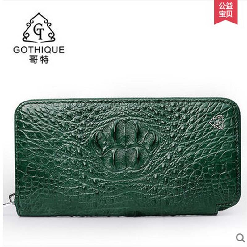 f21349e31832 gete Imported Thailand really crocodile clutches female leather bag zipper  bag long money wallet lady bags