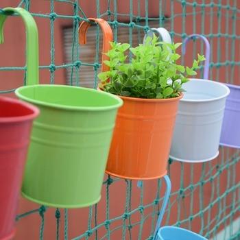 10pcs/set Colorful Hanging Flower Pots Removable Hook Wall Fence Bonsai Plants Tub Holders Home Balcony Garden Decor