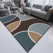 Fashion Geometric lines Dark blue brown bedroom Bedside rug Living room door mat custom made plush carpet non-slip floor