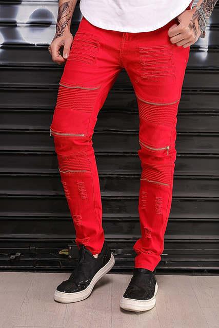 76b22b22674b Fashion New Slim Skinny Men red white black Jeans Hip hop Destroyed Ripped  Knee zipper Cotton