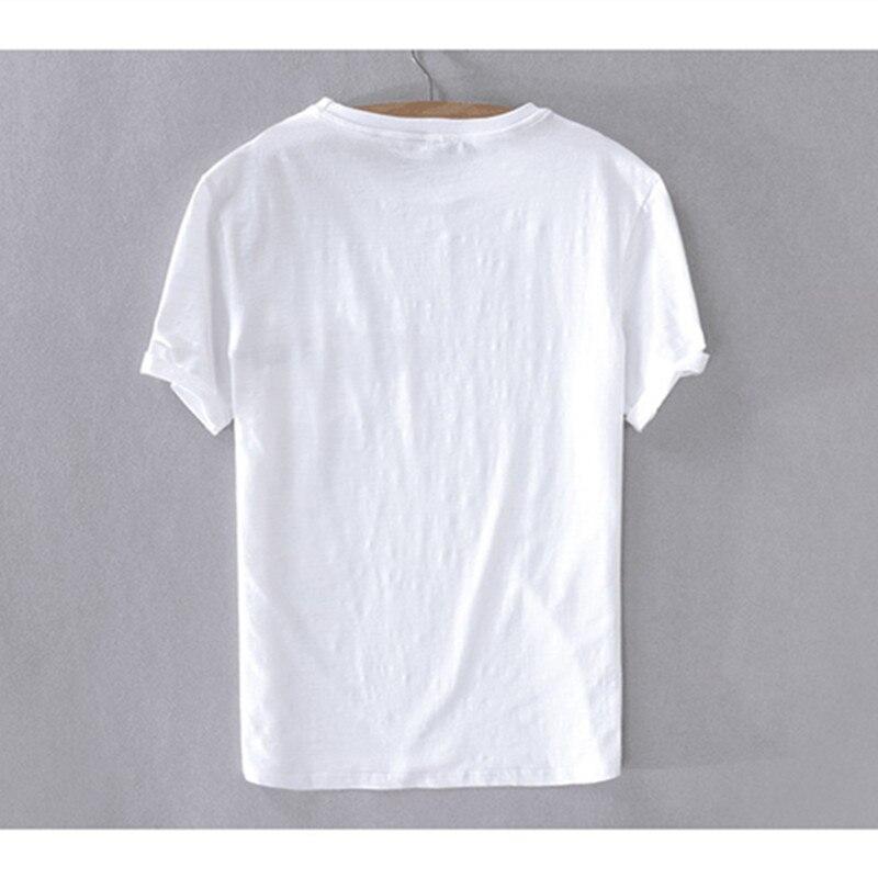 New style Italy brand t shirt men linen summer white t-shirt mens casual fashion o-neck t shirts male tops short sleeve tshirt