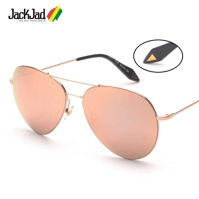 JackJad Fashion Oversized Ultralight Aviation Style Gafas de sol Rose Gold Women Diseño de marca Gafas de sol Oculos De Sol Feminino
