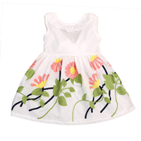 2017 Summer Kids Baby Girl Sleeveless Dress Cute Floral Pageant Party Tutu Baby Casual Beach Dresses
