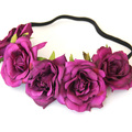 10pcs/lot Handmade Rose Flower Headband Woman Girls Flower Headwear Wedding Party Bride Flower Crowns Hair Accessories