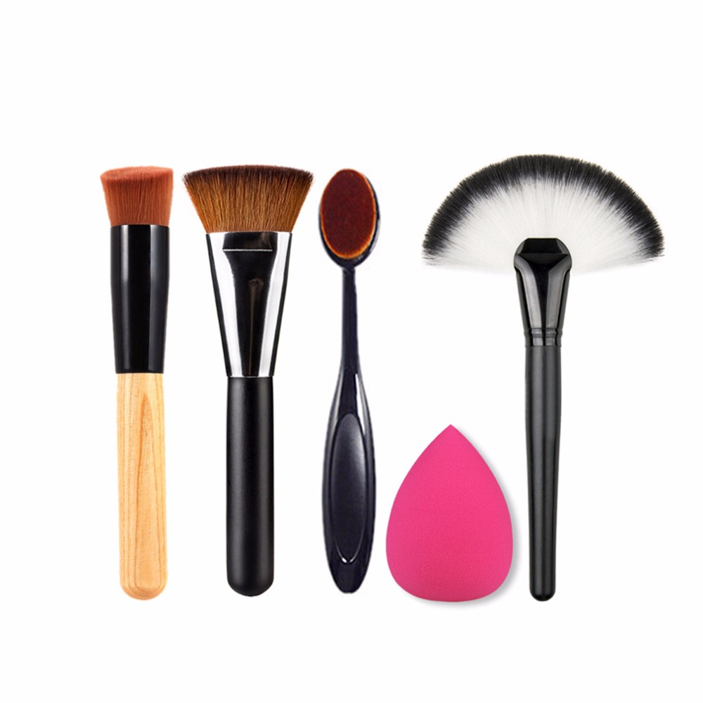 5pcs/set Pro Cosmetics Makeup Brushes Set Kits Tool Powder Blush Contour Foundation Brush 4 Make Up brush + 1 Sponge Puff very big beauty powder brush blush foundation round make up tool large cosmetics aluminum brushes soft face makeup free shipping