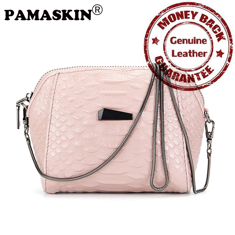 PAMASKIN Brand Premium Genuine Leather Women Small Messenger Bags 2017 Latest Hot Mobile Phone Bag Ladies