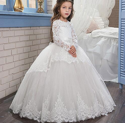 New White Girls Pageant Dresses Glitz Long Sleeves Lace Up Appliques Bow Sashes Birthday Flower Girl Dresses Ball Gown blue lace up design cold shoulder long sleeves jumpsuits