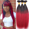 7a Malaysian Virgin Hair Straight 3 Bundles Red Ombre Hair Burgundy Malaysian Hair Straight Ombre Malaysian Straight Hair 3pcs