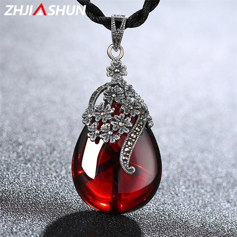 Flower Gemstone Garnet Pendants Necklaces 925 Sterling Silver Natural Chalcedony Jewelry for Women