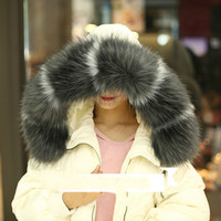 Hot New 2018 Winter Women Large faux Raccoon Fur Collar multicolor Fake Fur Scarf Winter Men Coat Fur Collar Shawl scarves