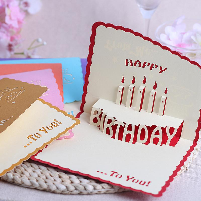 The new stereoscopic 3D handmade cards diy staff birthday greeting ...