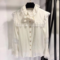 Dressnow white blouse women long sleeve summer butterfly sleeves blouses 2018 ruffles collar blouse women