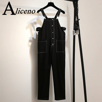 ALICENO 2XL 6XL Big Size Fitness Body Wear Ankle Length Solid Black Green Color Women Jumpsuits Overalls Bodysuit H19042902 H