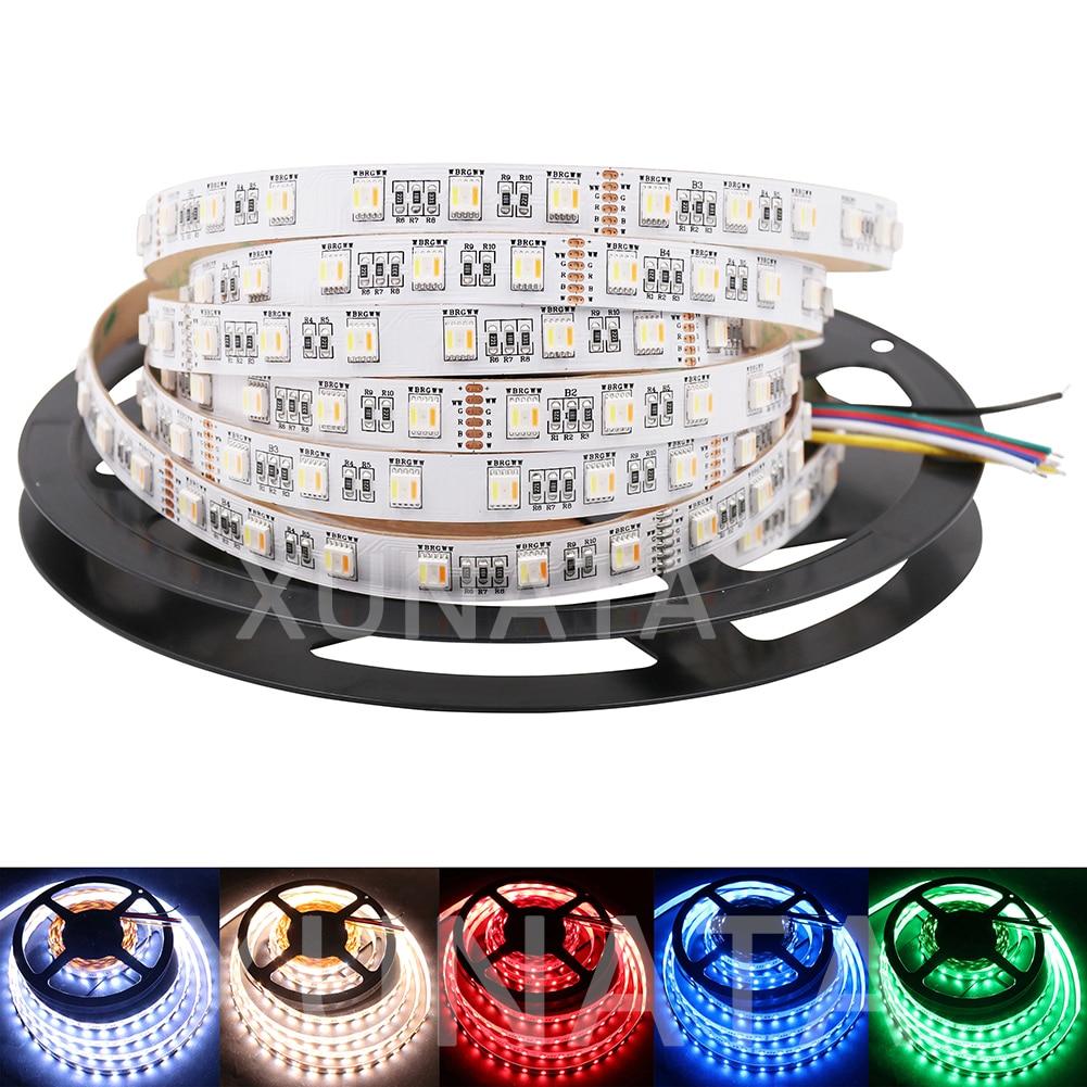 Newest RGB+CCT LED Strip 5050 60led/m DC 12V 24V 5 Colors in 1 chip CW+RGB+WW RGBW RGBWW flexible Led Tape Light Rope newest screen flexible bendable ip20 apa102 rgb led matrix 256leds pcs