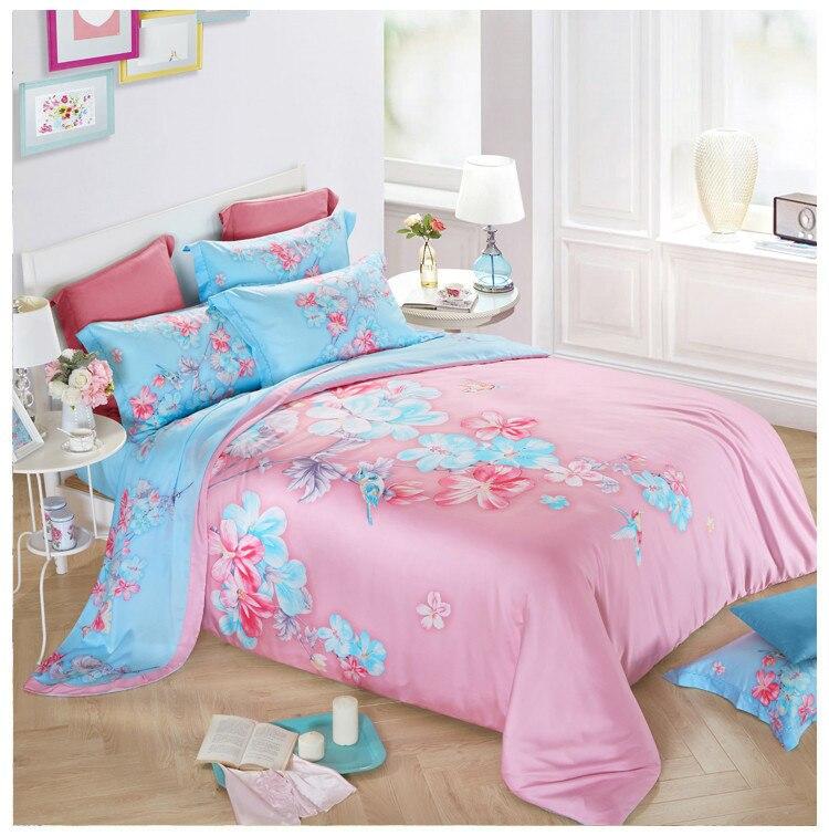 2018 brand bedding set king size 4pcs duvet cover jogo de cama plant flowers bed sheets tencel cotton bedclothes drap de lit