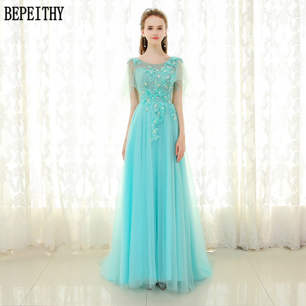 BEPEITHY Lovely A-Line Tulle Scoop Lace Beads Flower Appliques Evening Dress Long Prom Dress vestidos fiesta 2018