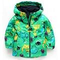 Venda quente! Outono novo dinossauro casaco meninos jaqueta impermeável tamanho 2 a 6 anos de idade frete grátis