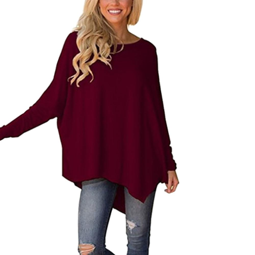 2018 Autumn Female Long Sleeve T Shirt Women O Neck Long Sleeve Casual Loose Big Size Asymmetric Long T-shirts Top