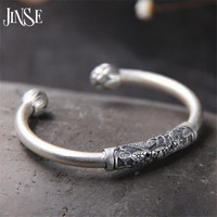 JINSE New Pure S990 Sterling Silver Bracelets For Women Brand Luxury Elegant Lotus Fish Carved Bangle Fine Jewelry 8mm 22.10G