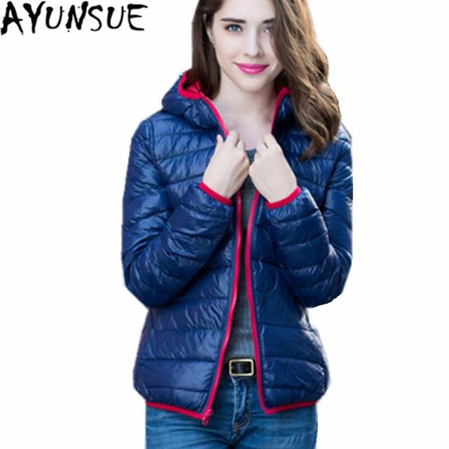 AYUNSUE Women's Down Jacket 2018 Double Wear Winter Coat White Duck Down Jacket Slim Coats Casacos De Inverno Feminino WXF132