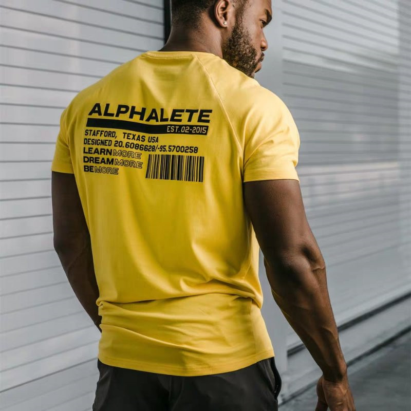 ALPHALETE Mens Summer Gyms Casual   T     Shirt   Crossfit Fitness Bodybuilding Muscle Male Short Sleeve   T  -  Shirts   Cotton Tops Clothing