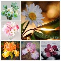 5D DIY Diamond Painting Cross Stitch White Daisies Floral Diamond Mosaic Needlework Diamond Embroidery Flower Home