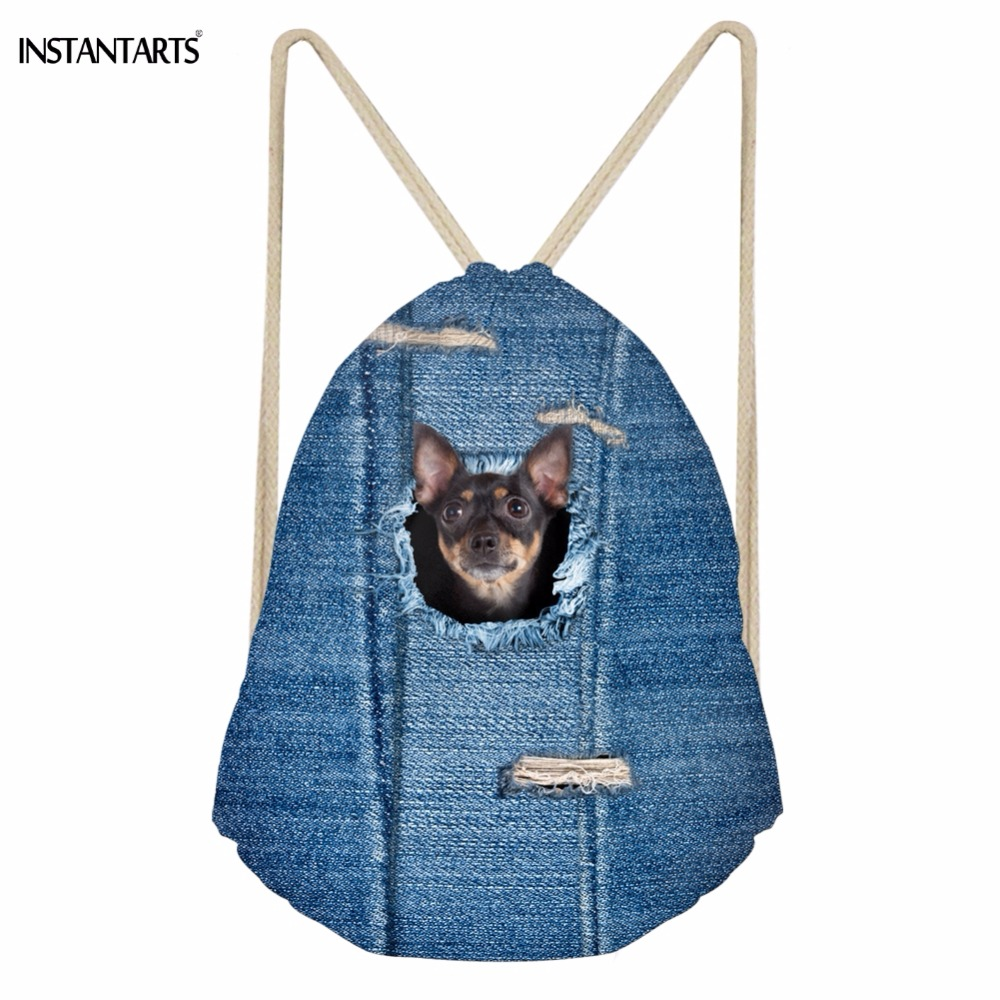 INSTANTARTS Cute 3D Animal Pocket Denim Chihuahua Dog Print Girls Boys Drawstrings Bags Casual Children Schoolbags Soft Backpack