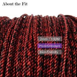 Acerca del ajuste de hilo trenzado de Color mezclado 2mm 100M seda Artificial cordón trenzado de encaje de mezcla de hilo joyería rebordear artesanía encontrar