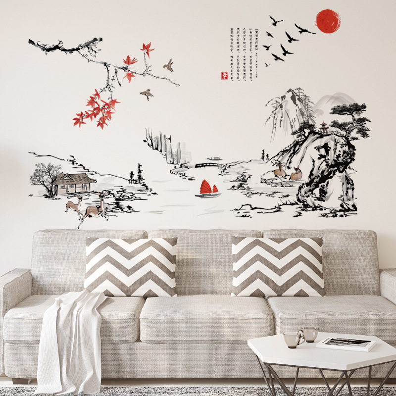 Chinese Style Wall Stickers Maple Leaves Deer River Mountain Village Boat Red Sun Wall Art Mural Poster Home Decor Wall Graphic
