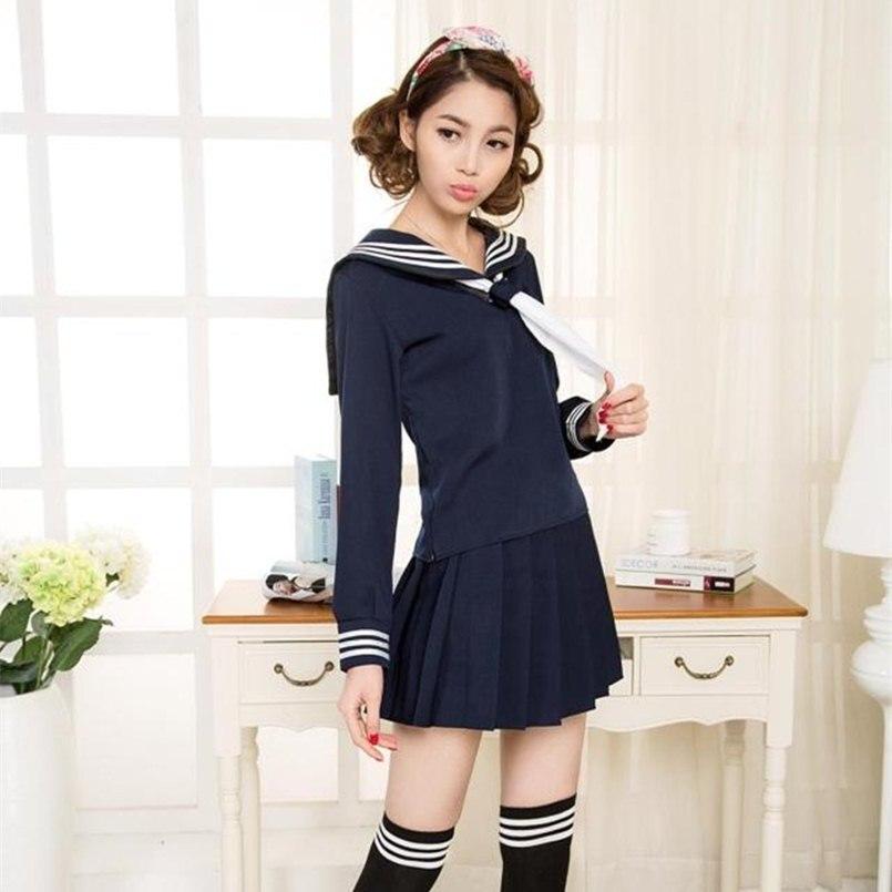 e2d8fdb706 Kostium marynarz mundurek szkolny zestawy modne szkolne mundurki szkolne  dla dziewczyn czarny biały i ciemny niebieski koszula i spódnica garnitury  50 w ...