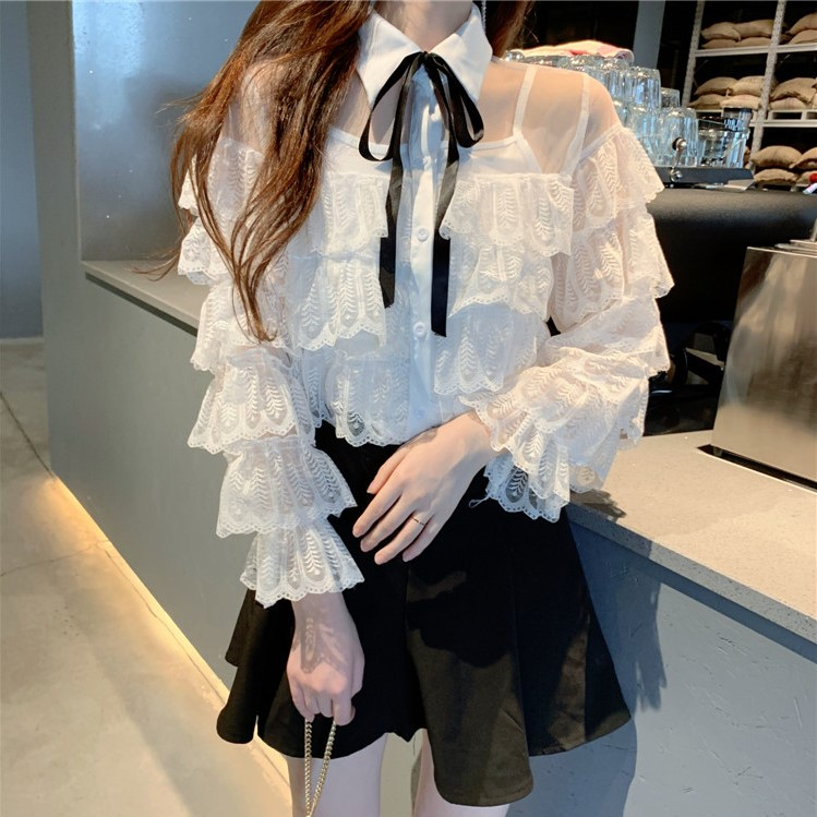 Novelty Design Lace Ruffle Shirt Blouse Vintage Shirts Female Long Sleeve Sexy Blouses Tops Female Autumn Fashion Clothes Party in Blouses amp Shirts from Women 39 s Clothing