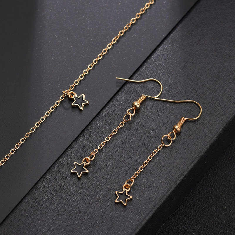 2019 Fashion star choker necklace women jewelry choker gold black enamel star necklace on the neck chain Bijoux Collares Mujer