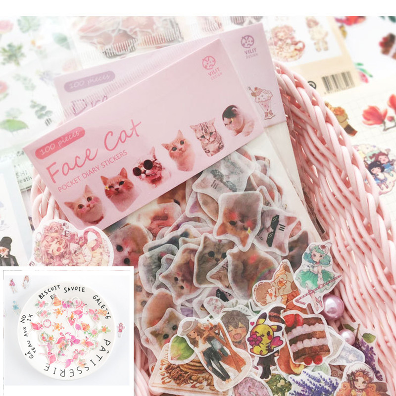 40-100pcs/pack Flowers Flamingo Totem Memo Stickers Pack Delicious Food Planner Scrapbooking Stickers Stationery School Supplies