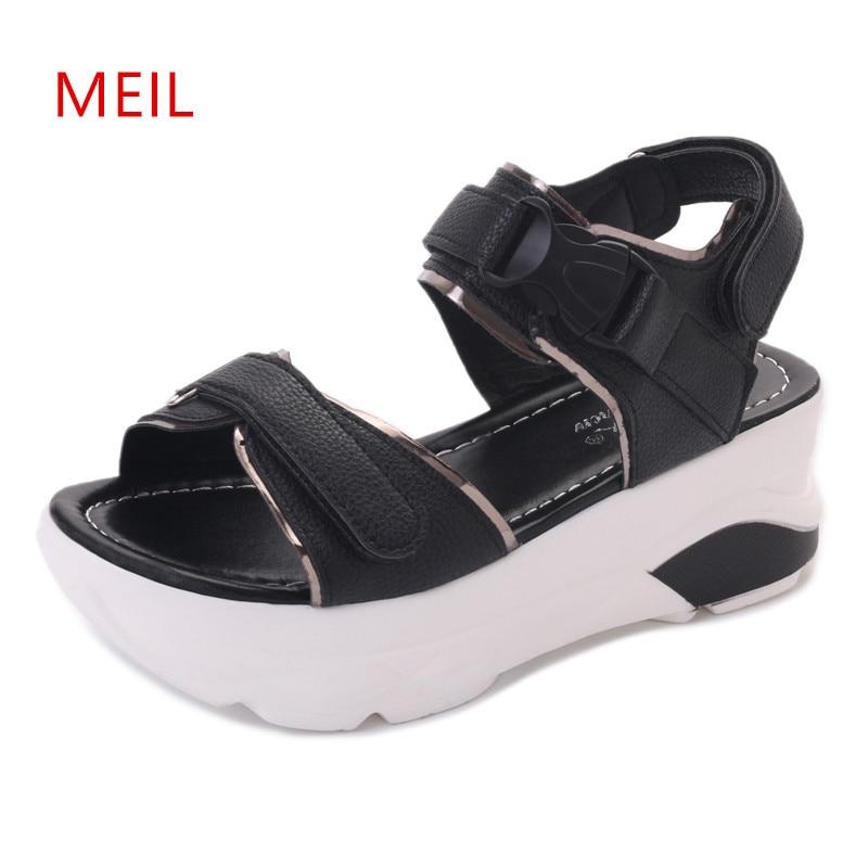 Gladiator Sandals Women 2018 Summer Ladies Wedges Platform Peep Toe Flat Leather Sandals Heels Summer Shoes Women Sandalen Dames