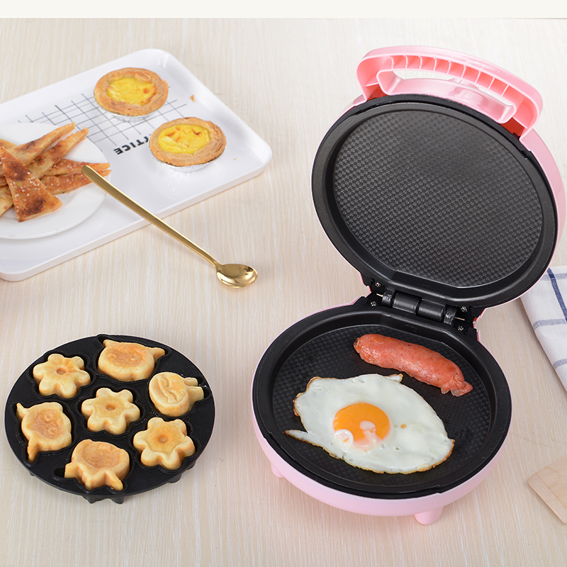 220V Electric Waffle Maker Cartoon Shape Multifunctional Electric Cake Baking Iron Plate Automatic Electric Breakfast Machine