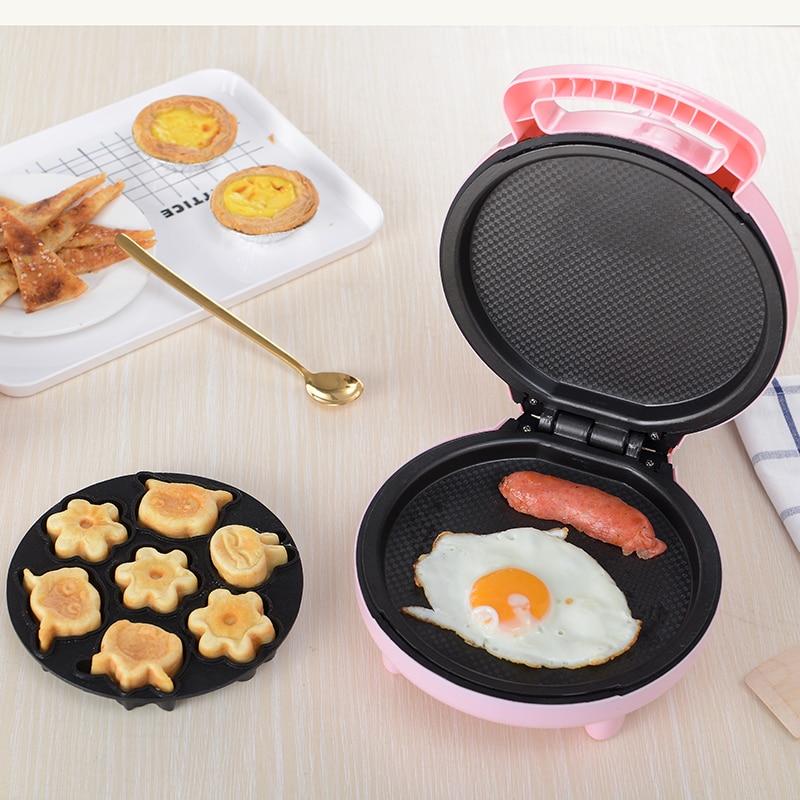 220V Electric Waffle Maker Cartoon Shape Multifunctional Electric Cake Baking Iron Plate Automatic Electric Breakfast Machine