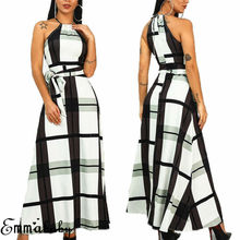 Women Halter Neck Long Evening Formal Dress Female Party Ball Gown Maxi Boho Plaid