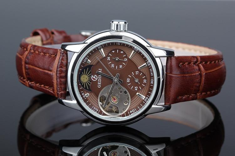 GEDIMAI Women Watch Top Fashion Brand Female Clock Gold Case Leather Waterproof Automatic Mechanical Wristwatches reloje