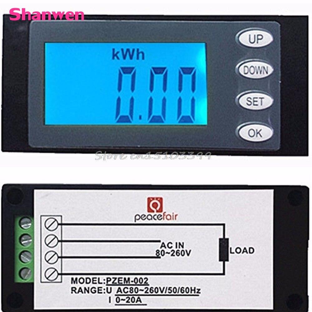Nouveau 20A AC Numérique LED Panneau Power Meter Moniteur KWh Temps Watt Voltmètre Ampèremètre Drop Ship