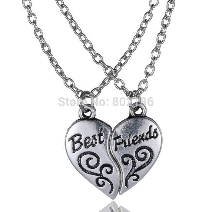 2p Quot Best Friends Quot Handstamped Puzzle Necklace Broken Heart