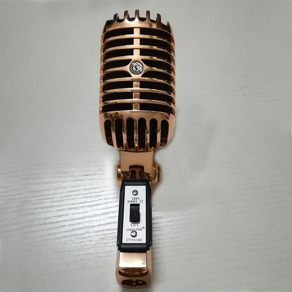 Из Металла 55SH микрофон розового золота Цвет Вокальный динамический Ретро Винтаж Микрофон 55 sh для аудио микшер Studio видео пение Запись