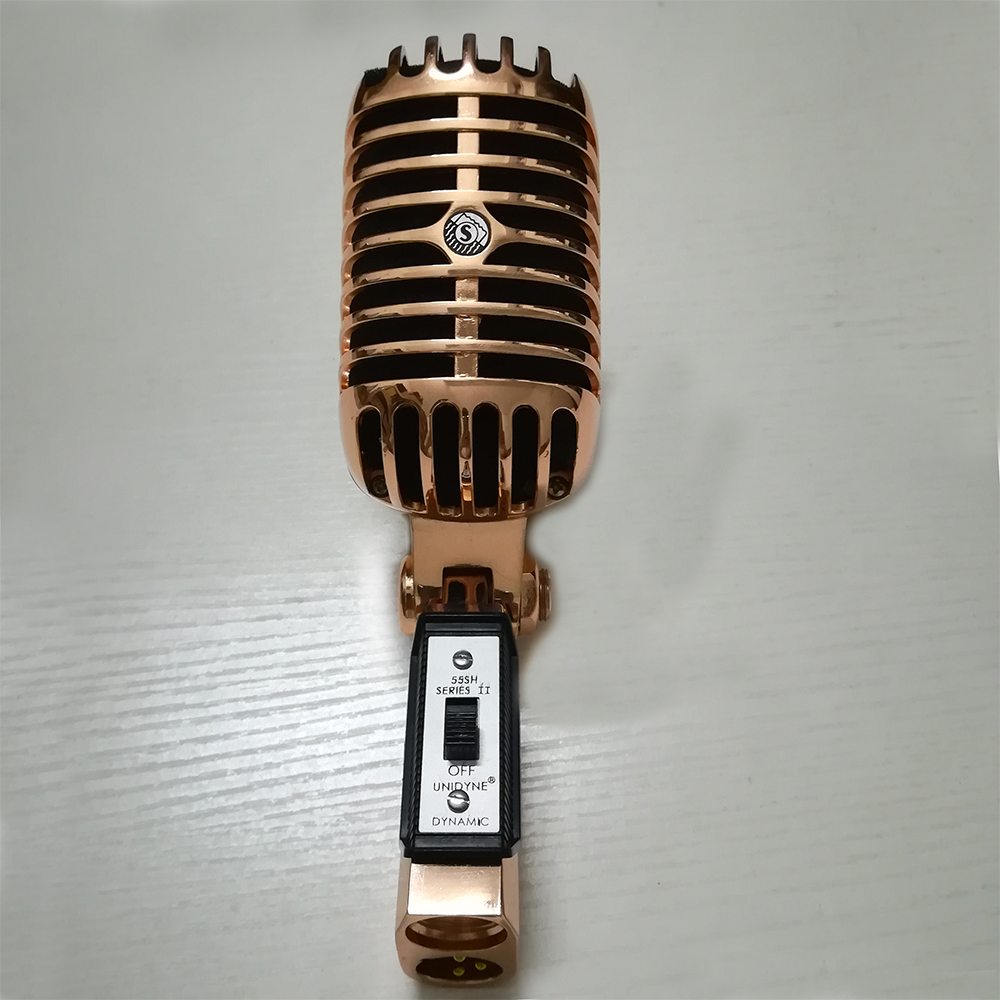 Metal 55SH Microphone Rose Gold Color Vocal Dynamic Retro Vintage Mic 55 sh For Mixer Audio Studio Video Singing RecordingMetal 55SH Microphone Rose Gold Color Vocal Dynamic Retro Vintage Mic 55 sh For Mixer Audio Studio Video Singing Recording