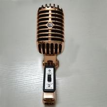 Microfone de metal 55sh, microfone de metal ouro rosa de cor ouro, voz, retro, vintage, 55 escova para mixer, estúdio, gravação de vídeo