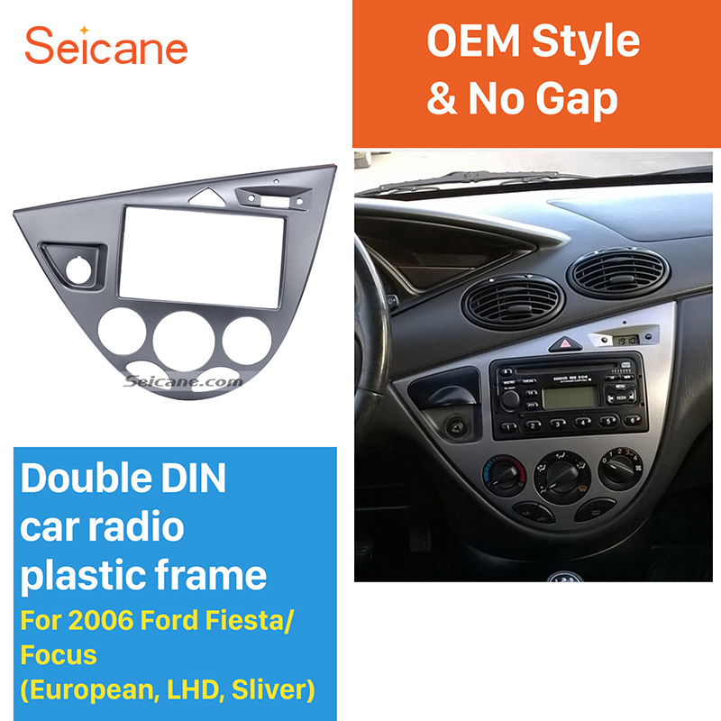 Seicane Silver Double Din Car Radio Frame DVD Player Fascia Dash Mount Kit for 2006 Ford