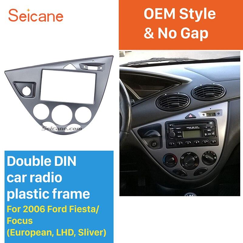 Seicane Silver Double Din Car Radio Frame DVD Player Fascia Dash Mount Kit for 2006 Ford Fiesta Focus European LHD